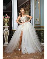 a52d86150b3c0d9 Свадебное платье цвет айвори трансформер короткое с отстегивающейся юбкой