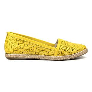 Желтые кожаные эспадрильи 36. 39. на низком ходу Woman's heel с закругленным носком