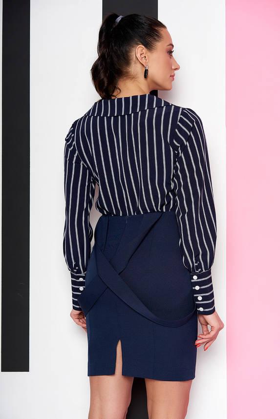 Стильная женская рубашка в полоску темно-синяя, фото 2