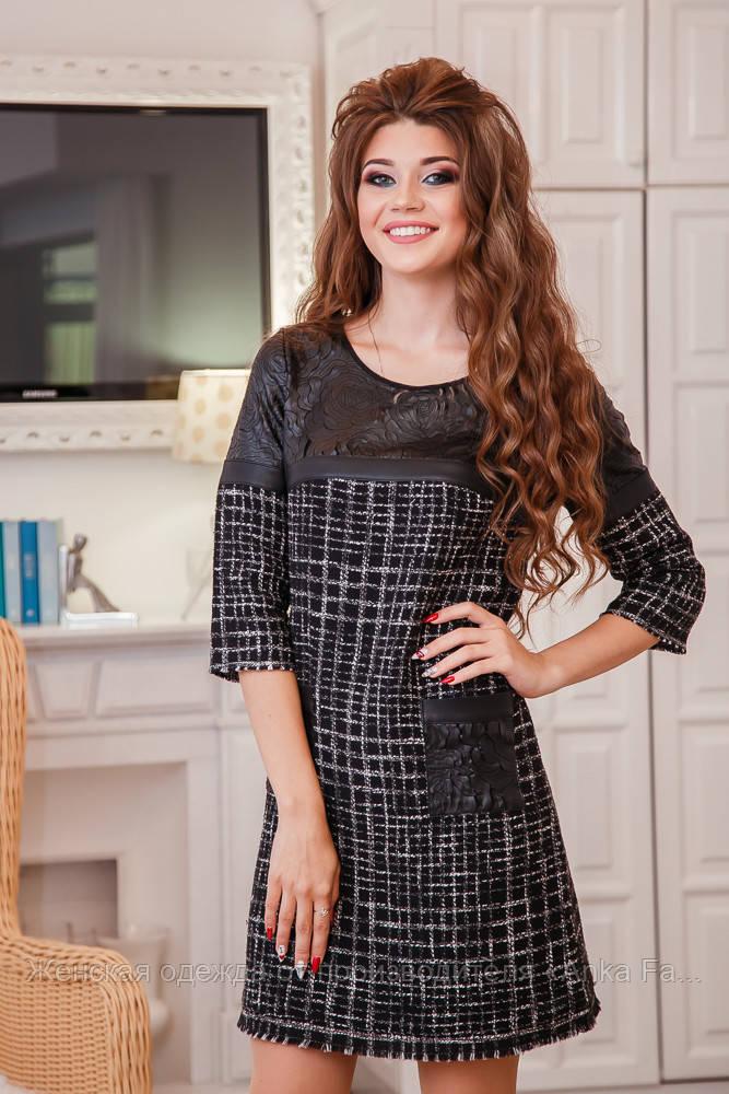 Короткое модное платье серое трикотаж