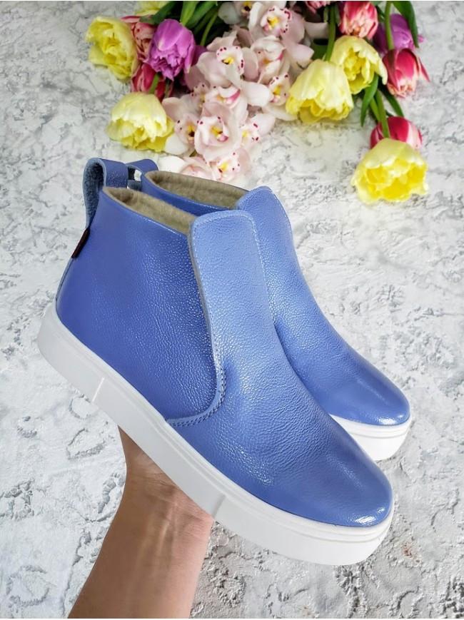 Слипоны из натуральной кожи голубого цвета ANKLE SLIP