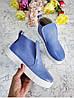 Слипоны из натуральной кожи голубого цвета ANKLE SLIP, фото 2