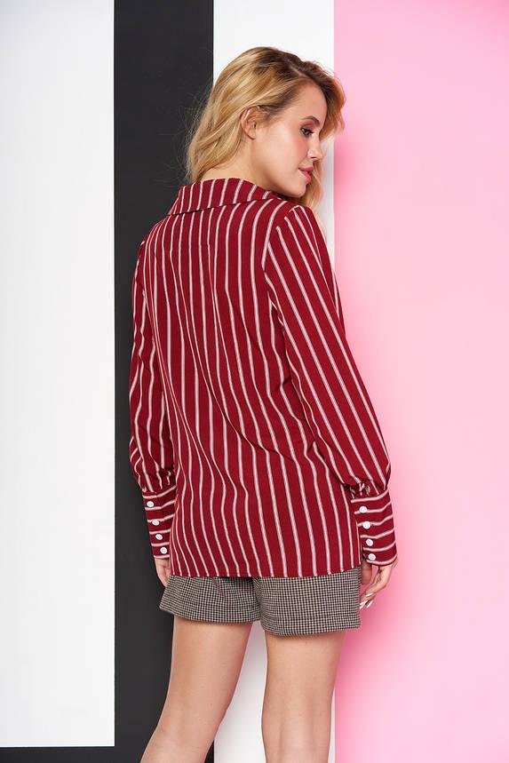 Стильная женская рубашка в полоску бордовая, фото 2
