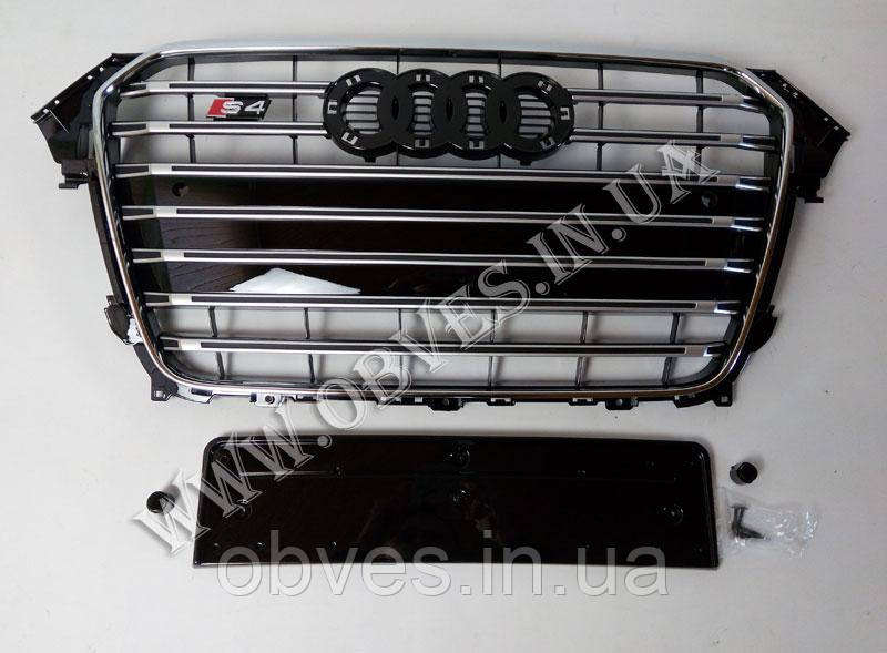 Решетка радиатора Audi A4 2012-2015 стиль Audi S4 Black+Chrome