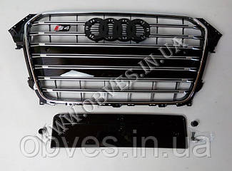 Решітка радіатора Audi A4 2012-2015 стиль Audi S4 Black+Chrome