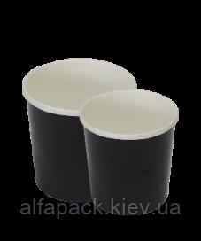 Супник черный с пластиковой крышкой 300 мл