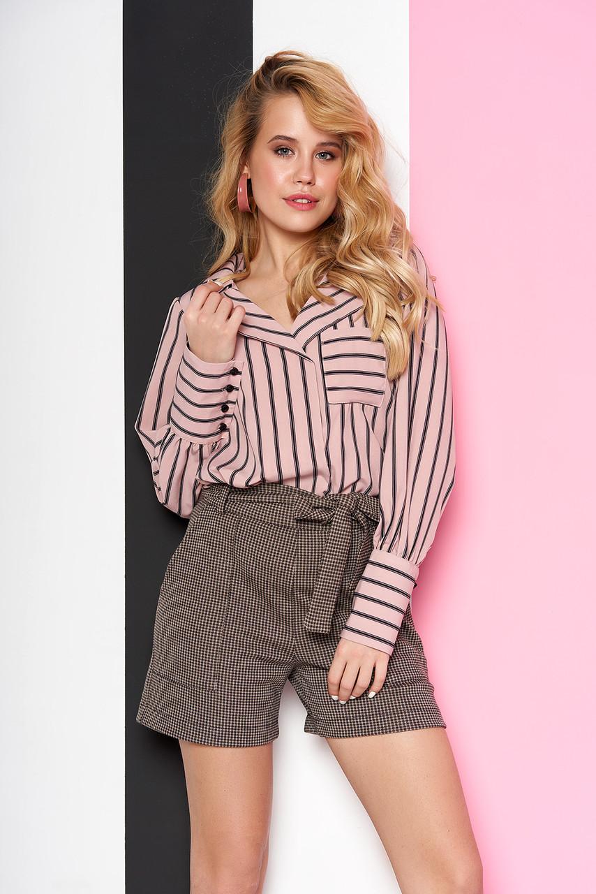 Стильная женская рубашка в полоску розовая