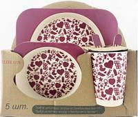 Набор детской посуды из бамбукового волокна Сердечки Elite Lux, 5 предметов
