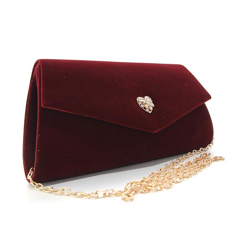 Клатч велюровый женский марсала Rose Heart 2-103056-1