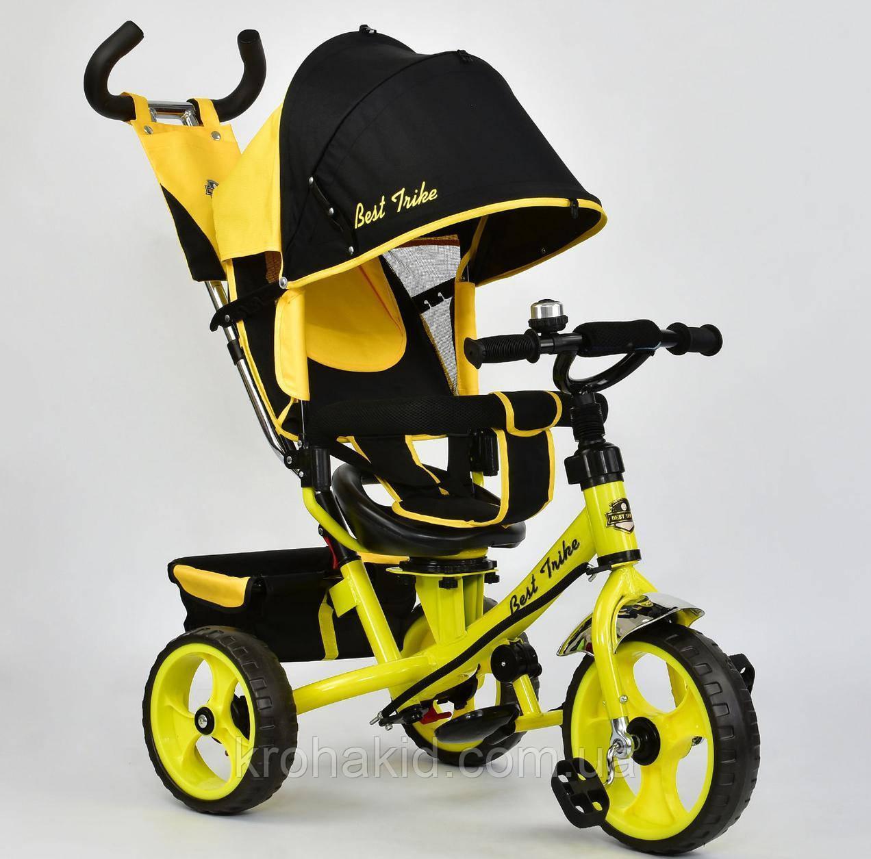 Велосипед трехколесный 5700 - 4890 ЖЕЛТЫЙ ПОВОРОТНОЕ СИДЕНЬЕ, КОЛЕСА EVA (ПЕНА)
