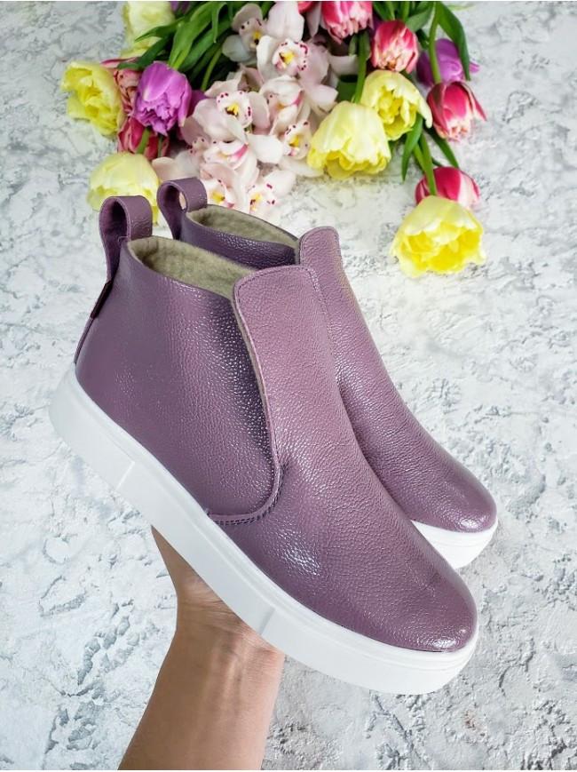 Слипоны из натуральной кожи фиолетового цвета ANKLE SLIP