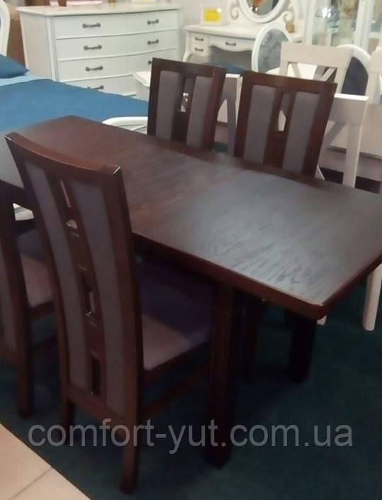Стол Классик Люкс орех 140(+50)*80 обеденный раскладной деревянный