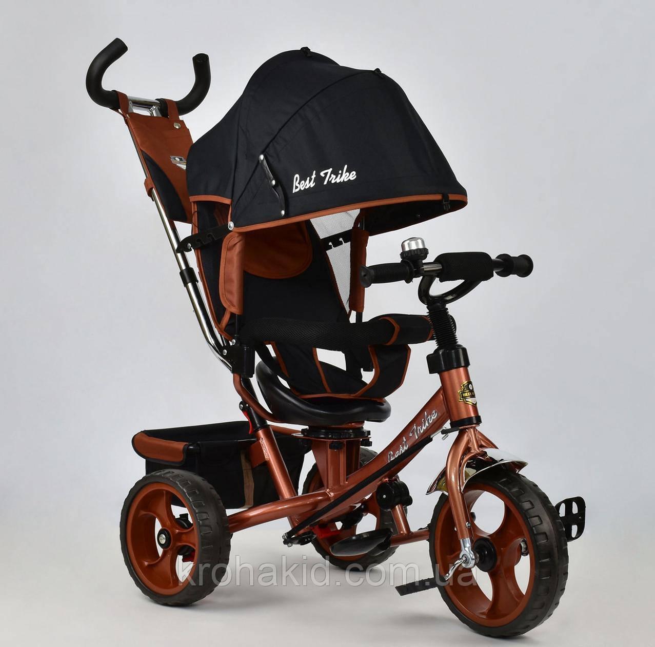 Велосипед трехколесный 5700 - 4340 БРОНЗОВЫЙ ПОВОРОТНОЕ СИДЕНЬЕ, КОЛЕСА EVA (ПЕНА)