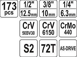 Набор инструмента для автомобиля Yato YT-38931 173 элемента, фото 3