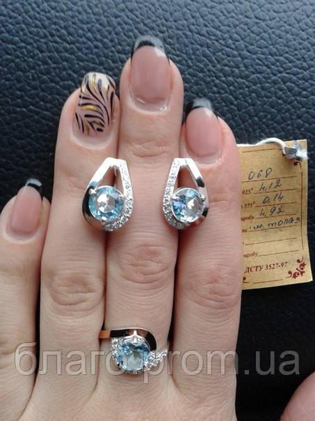 Серебряный комплект 068 серьги и кольцо с золотом