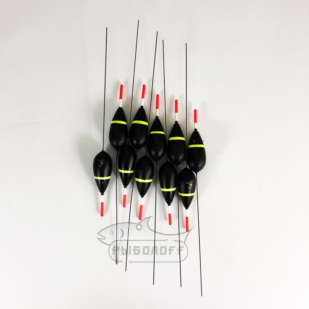 Поплавок Trade Mark черный с желтой полосой 8г