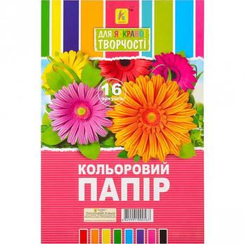 Цветная бумага А4 17 /50 16 листов «Коленкор» цветы, караблики, фото 2