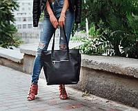 Шкіряна сумка модель 11 чорний флотар, фото 1