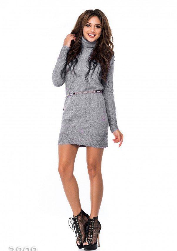 f8b11923231 Платье Серое демисезонное под пояс с фактурной вязкой (есть размеры ...