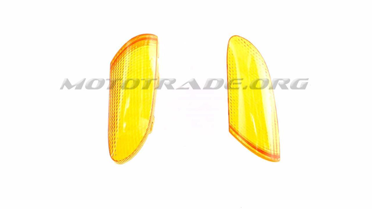 Стекло поворотов перед (пара)   Suzuki LETS 3   (желтое)   PLT, пара