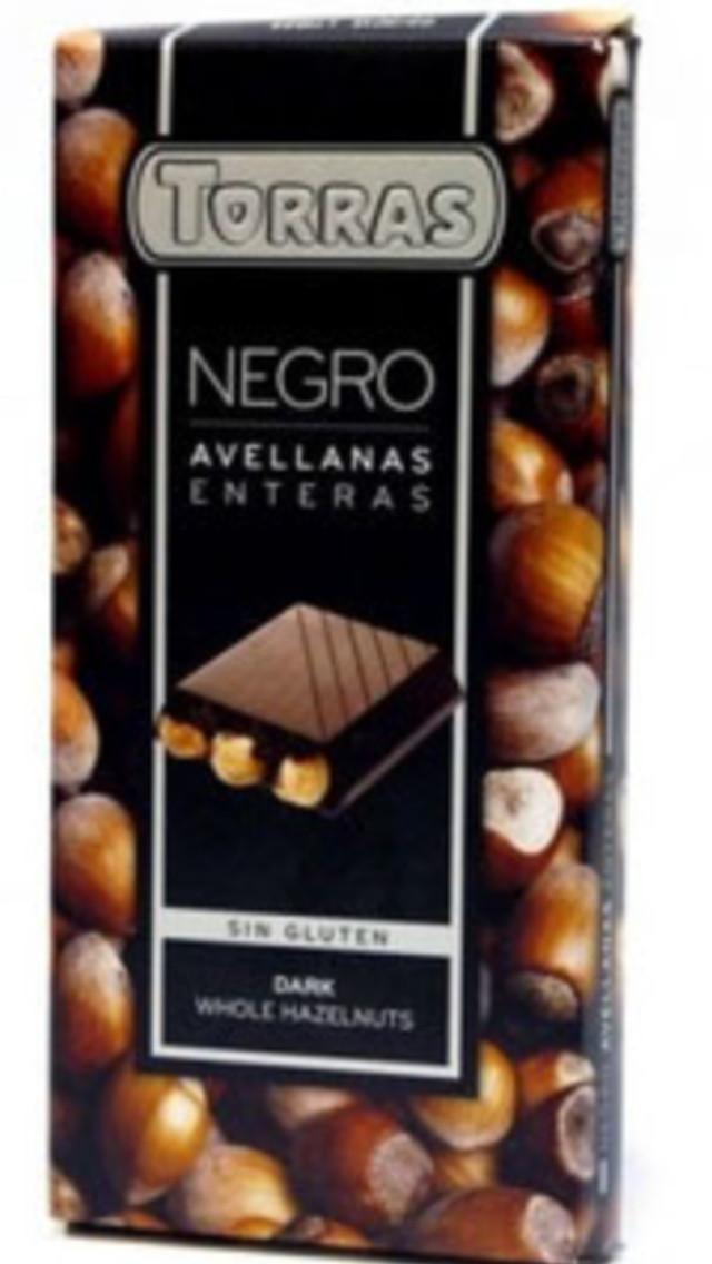 Чёрный шоколад Торрас с цельным фундуком. 200 г Torras negro. Испания.