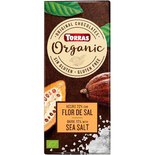 Темный шоколад Торрас с миндалем и морской солью. Какао 70%. 125 гр. Torras Organic Dark Sea Salt