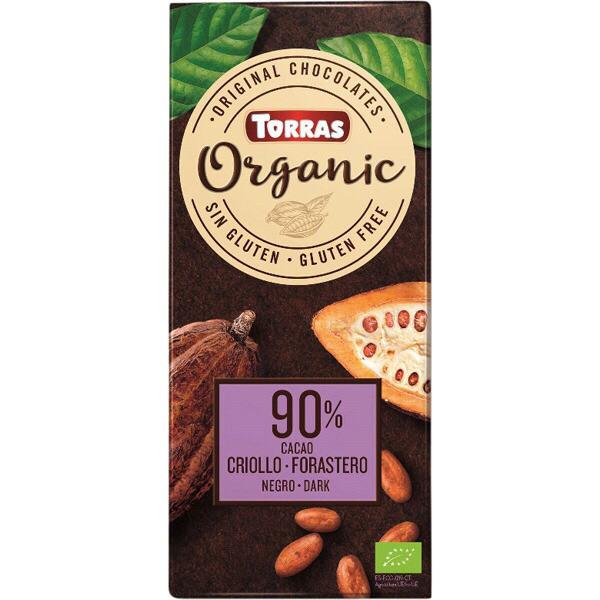 Шоколад чёрный Торрас без глютена 90% Криолло Форастеро Torras Organic Criollo Forastero 100 г Испания