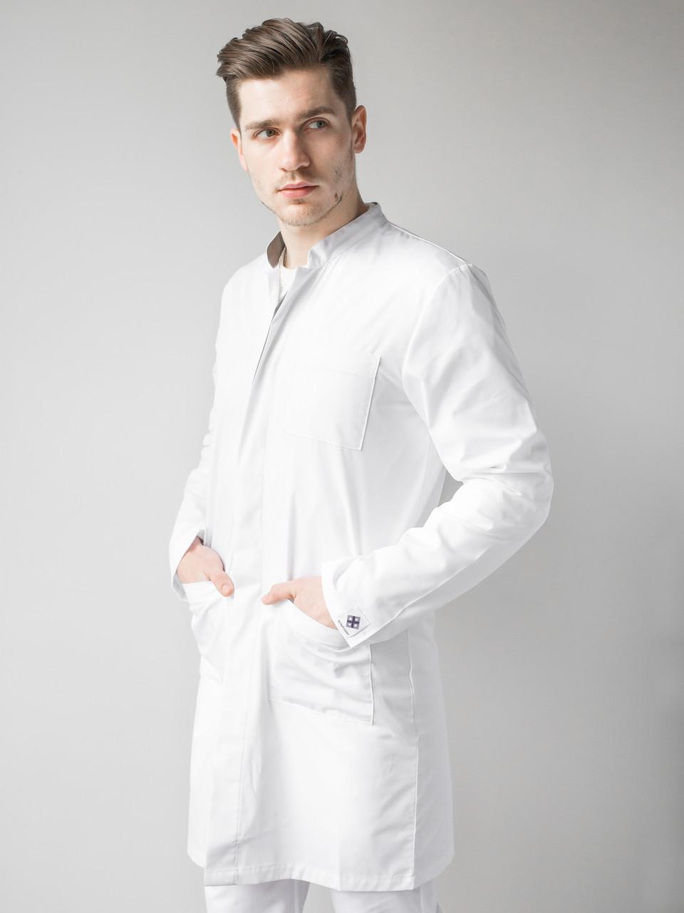 Медичний чоловічий халат Амстердам білий-сірий