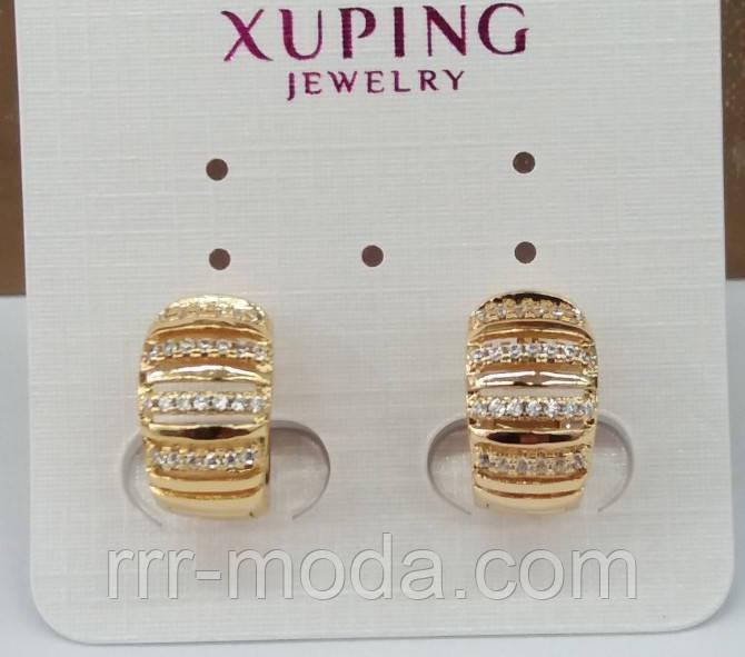 632. Широкие серьги кольца в стразах. Бижутерия Xuping оптом из Китая.