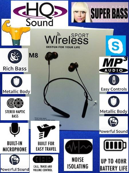 Bluetooth наушники M-8 с микрофоном / Sport