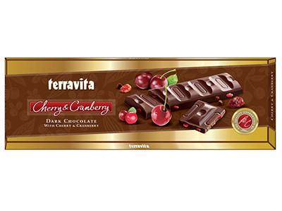 Шоколад темный Terravita с кусочками вишни и клюквы 225 г Польша