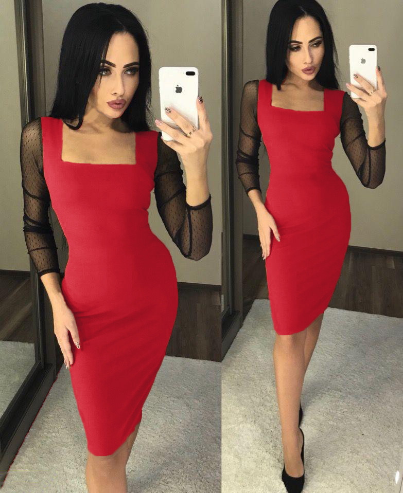 """Нарядное облегающее женское платье-футляр """"Кортни"""" рукава с сеточки красный"""