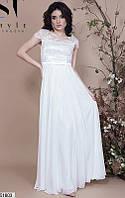Нарядное платье длинное юбка расклешенная атлас вышивка на сетке короткий рукав молоко