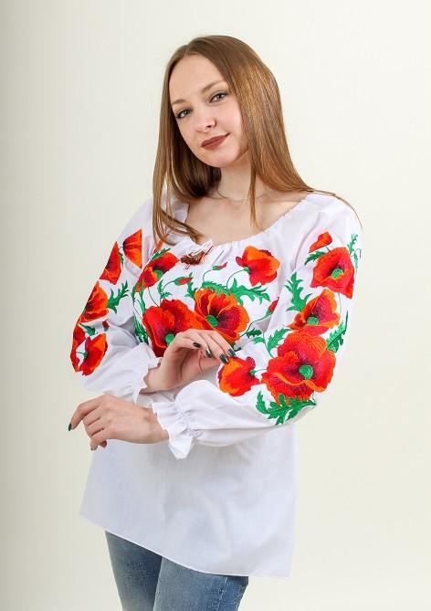 Вышитая хлопковая блуза с красными маками в белом цвете