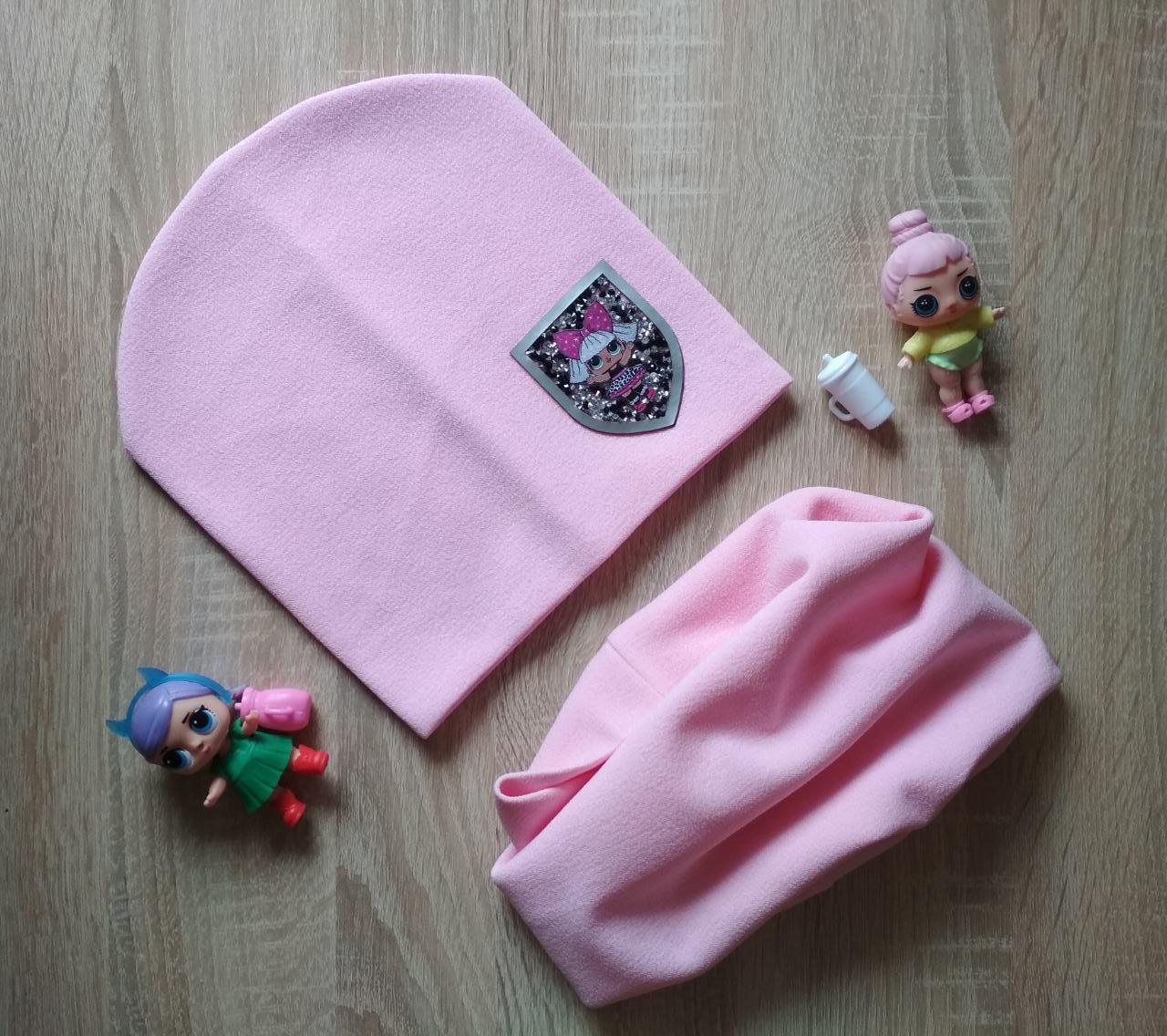 Трикотажный розовый комплект шапка и хомут LOL на девочку 6-10 лет