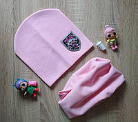 Трикотажный розовый комплект шапка и хомут LOL на девочку 6-10 лет, фото 1