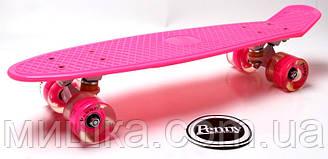 """Пенниборд Pink 22"""" Logo. Світяться колеса!"""