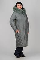 Зимний плащ Сафина приталенного силуэта с элементами стежки больших размеров 50-60