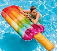 Матрас надувной радужной окраски.Надувной плотик интекс фруктовое мороженое.