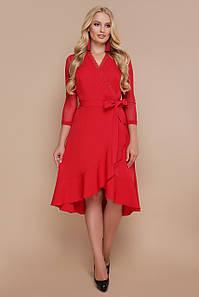 Женское красное платье с воланом по низу Алеся-Б д/р