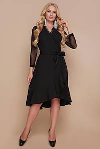 Женское черное платье для полных с воланом Алеся-Б д/р