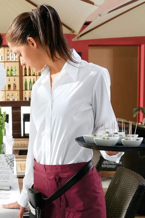 Блуза женская с потайной застежкой TEXSTYLE длинный рукав отложной воротник
