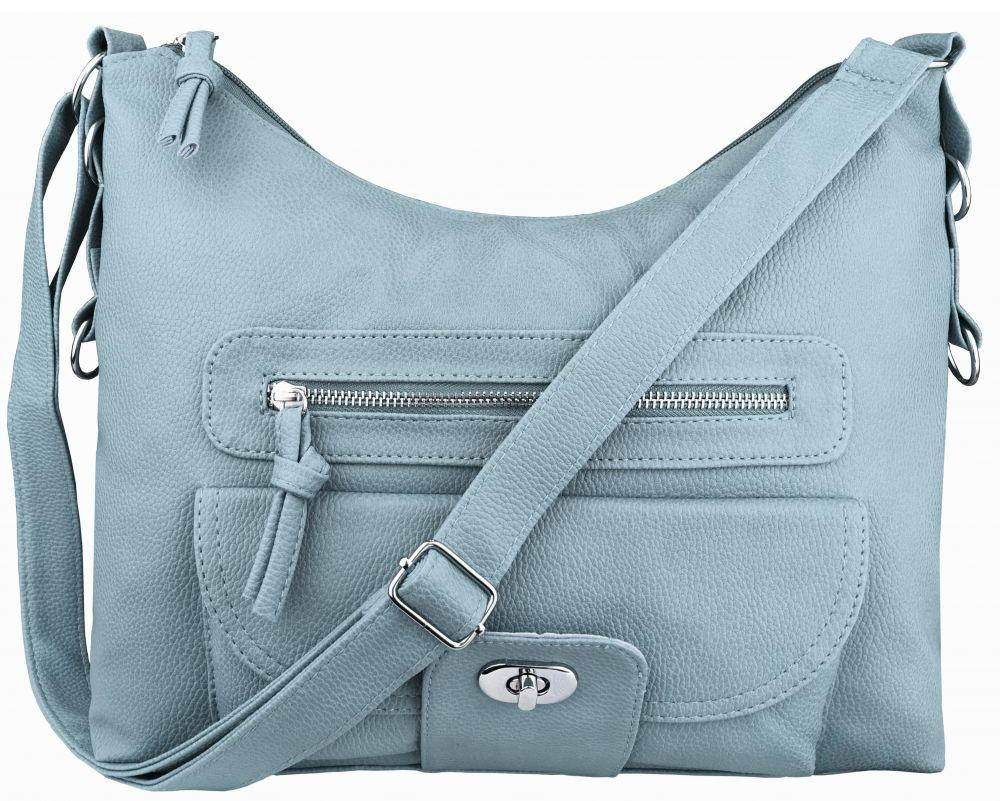 Модная голубая женская сумка на плечо на длинном ремешке пр. Польша 24212NY