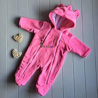 Комбинезон флисовый с капюшоном и ушками 62 размер (на 3 месяца), розовый, фото 1