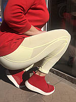Лосины спортивные женские Nike лимонные перфорация сбоку