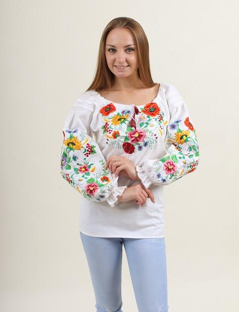 Домотканая женская блуза белая с полевыми цветами