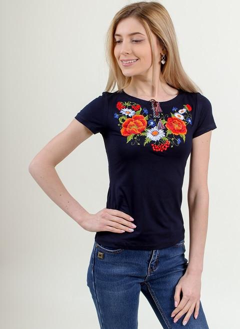 Красивая трикотажная футболка вышиванка с калиной