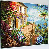 Картина масло акрил Живопись Пейзаж *Италия горы море цветы*Подарок женщине маме жене Декор в гостиную офис