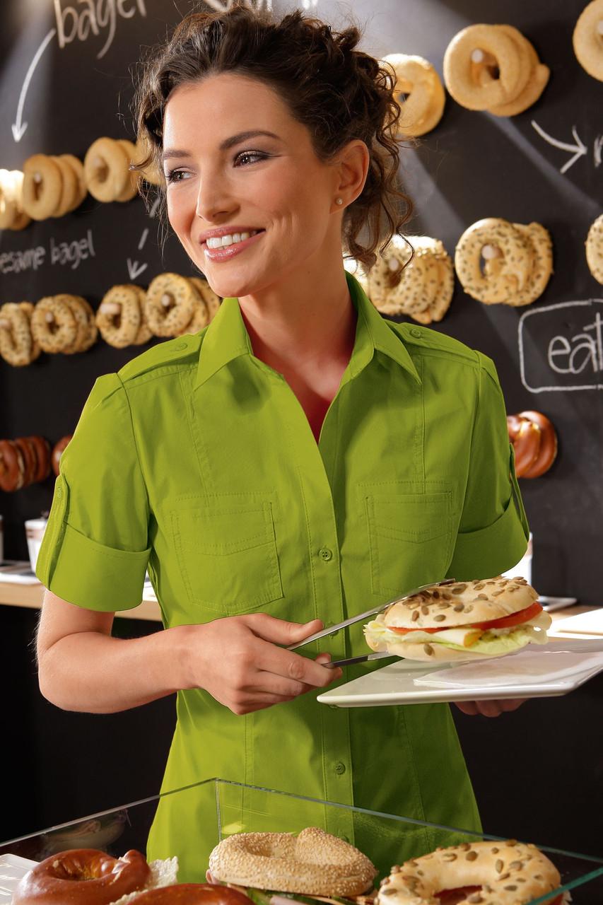 Блуза официанта женская TEXSTYLE сафари зеленая