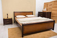Кровать из бука Сити с интарсией ТМ Олимп
